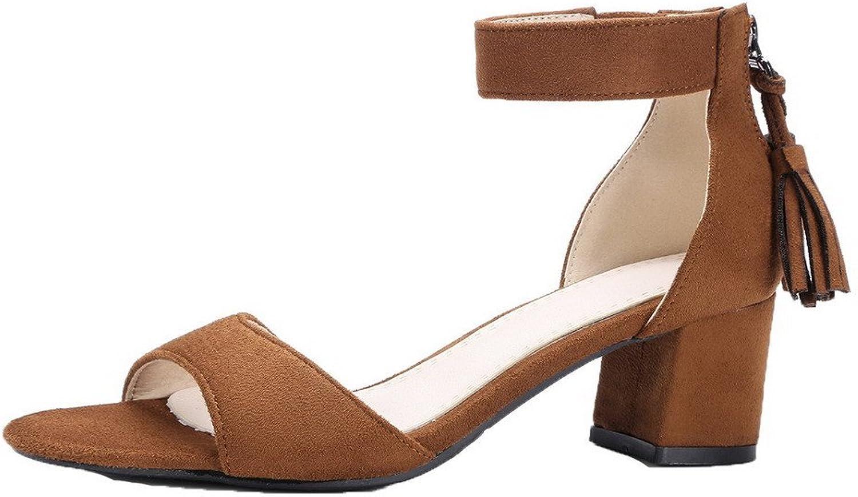 AmoonyFashion Women's Zipper Open-Toe Kitten-Heels Frosted Sandals, BUTLT005711