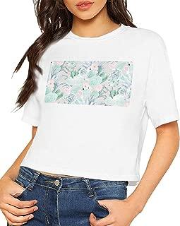 Succulents Wallpaper Women's Short Sleeve Round Neck Print T-Shirt,Casual Tee T-Shirt,T-Shirt with Navel Bare