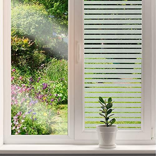 DUTISON Fensterfolie Selbstklebend Blickdicht Sichtschutzfolie Fenster Dekorfolie Milchglasfolie ohne Klebstoff für Bad Küche Büro (Streifen, 60 * 200cm)