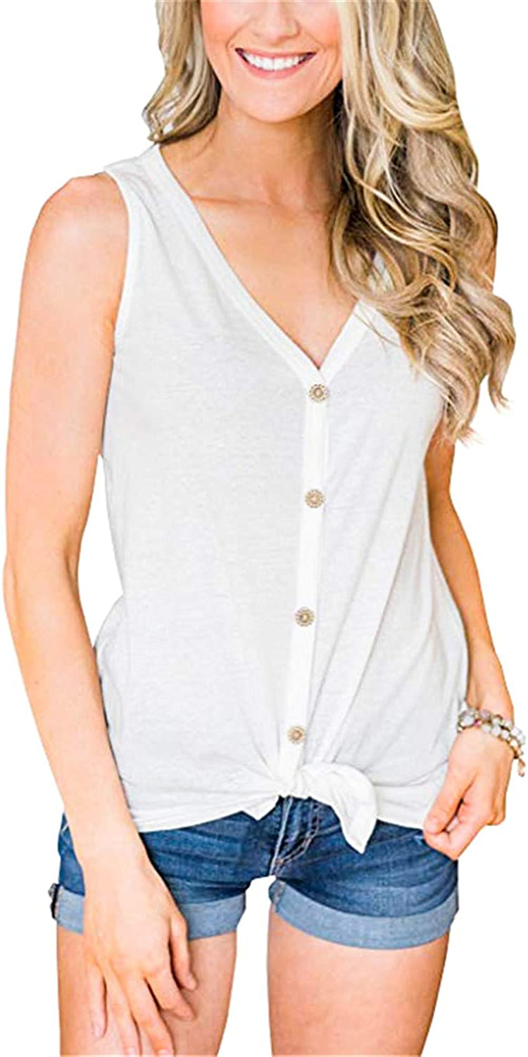 LATH.PIN Sleeveless Button Down Tank Tops Tie Knot Casual V Neck Shirts Blouses for Women