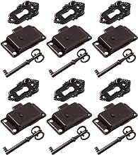DOITOOL 6 Sets Antiek Messing Kabinet Lock Antiek Brons Decoratieve Lock Lente Deur Lock Meubels Case Box Lock met Sleutel