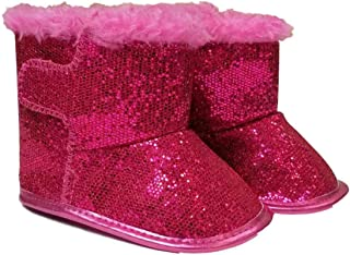 Toddler Infant Girls Pink Glitter Faux Fur Ankle Boots Dress Crib Shoes
