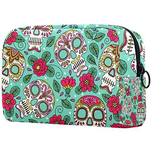 Kosmetiktasche Make-up Taschen für Frauen, Kleine Make-up Tasche Reisetaschen für Toilettenartikel - Halloween Mexican Skull Flower Leaves