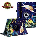 iPad 9.7 inch Case 2018 2017/ iPad Air Case - 360 Degree Rotating Stand Protective Cover Smart Case with Auto Sleep/Wake for Apple iPad 5th/6th Generation (Sea World)