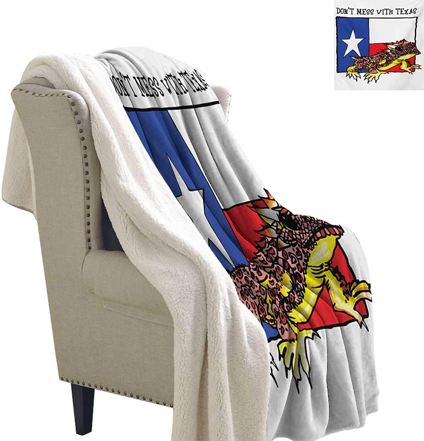 Gabriesl Reptile Blanket Small Quilt 60x32 Inch Illustration of Cute Warrior Horned Toad Standing for Texas City American Dream Digital Printing Blanket Multicolor
