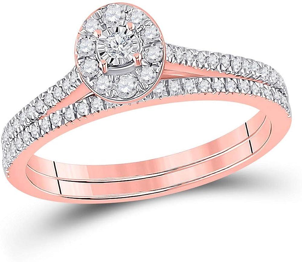 10kt Las Vegas Mall Rose Gold Round Diamond Oval Bridal 1 Ring Set Band Wedding Bargain