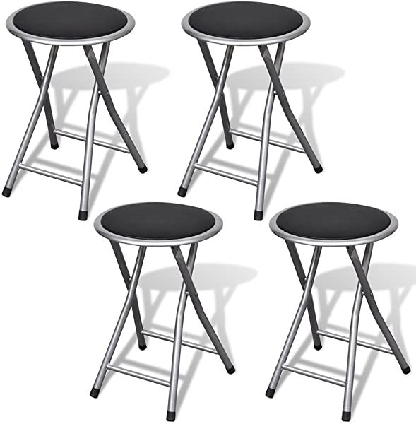 Festnight 4 Packs Folding Stool Collapsible Barstool Chairs With Black Leather Cushioned Seating Top For Outdoor Indoor Black