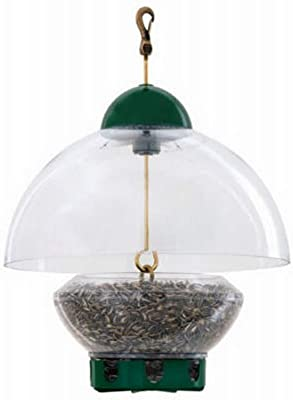 Droll Yankees DROBTG Bird Feeder, Hanging Feeder with Adjustable Dome Cover, 15 Inch Dome, 3 Pound Seed Capacity, 8 Ports, Green, BTG