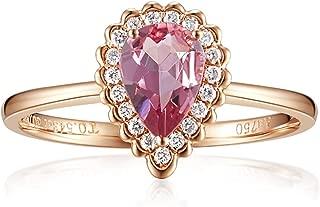 Carleen 14K Solid Rose Gold Pear Shaped 0.543ct Pink Tourmaline 0.10ct Diamond Ring For Women Girls