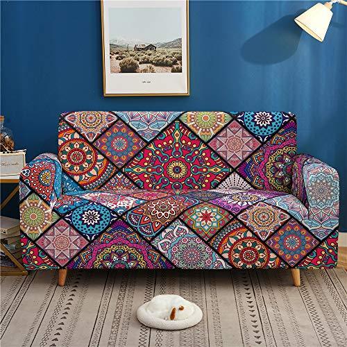 Surwin Sofabezug Sofa Überwürfe 1 2 3 4 Sitzer, Muster Elastische Universal Sofahusse Sofa Abdeckung Stretch Schonbezug Couchbezug für Armlehnen Sofa (Mandala,2 Sitzer (145-185cm))