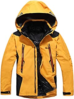 MIS1950s Men Winter Hooded Softshell Windproof Waterproof Snow Coat Mountain Jacket for Climbing Picnic Camping Fishing Running