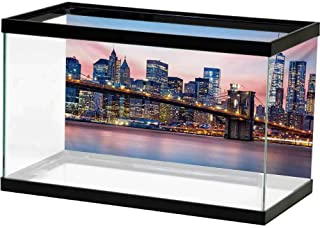 bybyhome Undersea World New York,Aerial Night View of NYC with Dusk Sky Cloudy Sunset in City Fashion Capital Art Photo,Blue Decals Poster