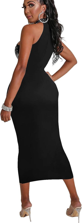 Women's Off Shoulder Halter Elegant Mermaid Diamonds Pencil Dress Office Lady Wear Sheath Bodycon Evening Long Dress