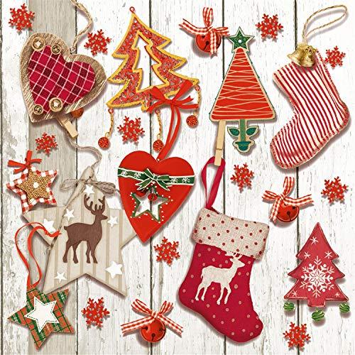 Tovaglioli di carta monouso, Tag Natale, 20 pezzi 3 strati - 33 x 33