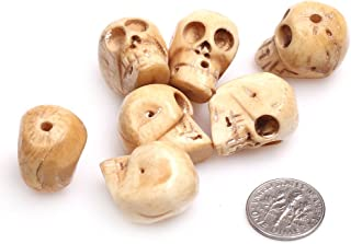 GEM-inside 18x21mm Big Hole Yellow Carved Bone Skull Beads for Jewelry Making Bulk 10 pcs
