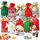 Daypicker 50 Pezzi Sacchetti Caramelle Regalo di Natale, Sacchettini di Festa Natalizie Biscotto Caramella Borsa di Regalo Natale Bustine Regalo Plastica Sacchettini Natalizi Compleanno Bambini