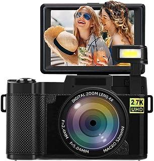 Camara DigitalCamara de Fotos 24MP Full HD 2.7K 25FPS Cámara Digital de Youtube con Linterna retráctil y Camara Fotos Flip Screen de 3.0 Pulgadas