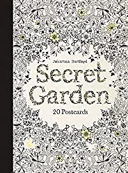 secret garden coloring postcards