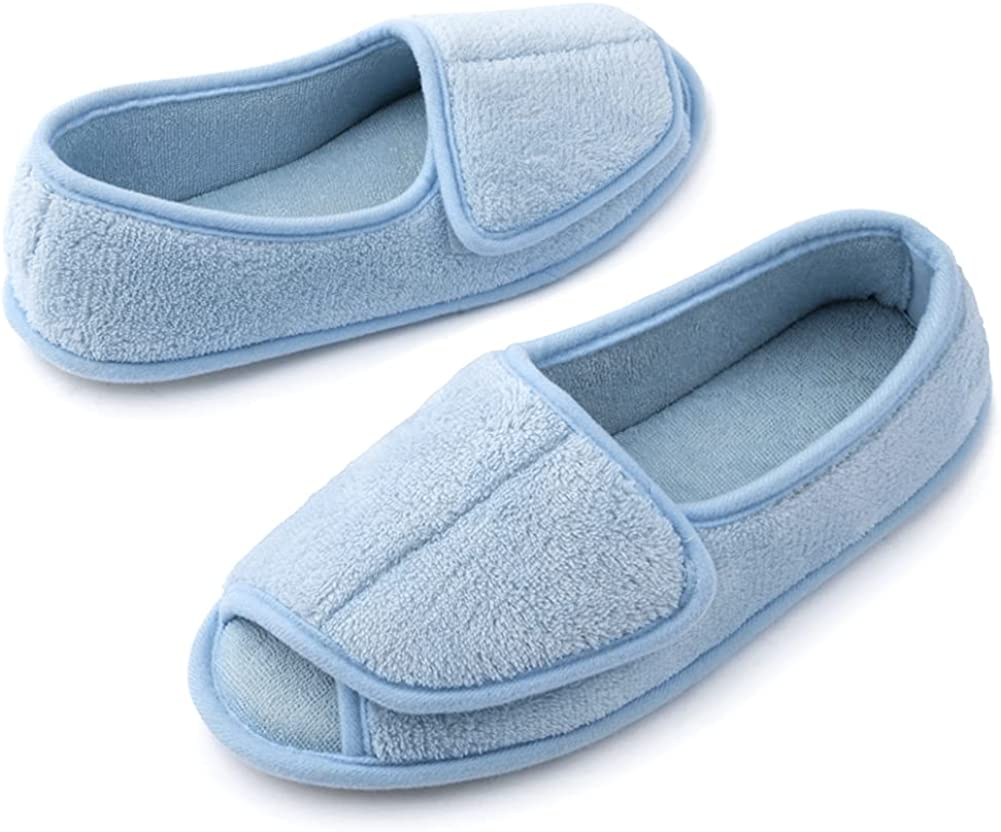Women's Memory Foam Slippers with Adjustable Closure, Lightweight Wide Width House Shoes Indoor and Outdoor Rubber Sole