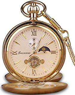 Tourbillon Moon Phase Hand Winding Mechanical Pocket Watch Double Open Gold Case