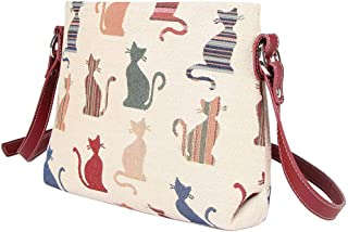 Cheeky Cat White and Red Ladies Fashion Canvas Tapestry Mini Satchel Cross-body Purse Bag with Adjustable Strap also as Small Shoulder Bag by Signare (XB02-CHEKY)
