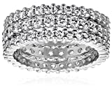 Sterling Silver Cubic Zirconia All-Around Band Stacking Ring Set (Set of 3), Size 7