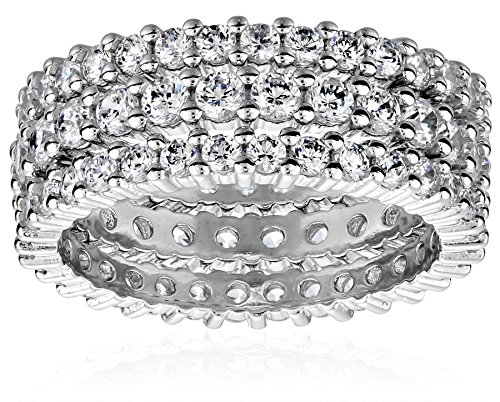 Sterling Silver Cubic Zirconia All-Around Band Stacking Ring Set (Set of 3), Size 9
