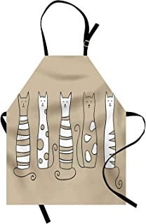 T&H Home Cat Apron, Contemporary Graphic of 5 Standing Cats Lovely Meow Character Domestic Humor Art Work, Unisex Kitchen Bib Apron Adjustable for Kids Adults Cooking Baking Gardening, Beige White