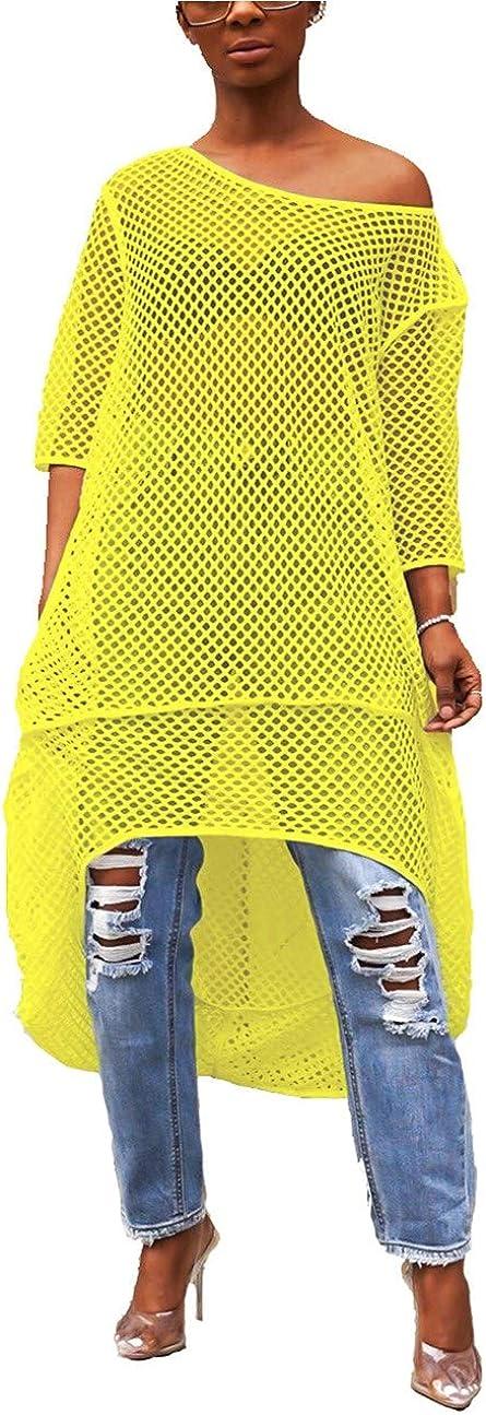 Yeshire Womens Short Sleeve Cover Up Crochet Lace Midi Bikini Swimsuit Dress