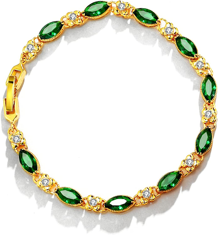 HUWODY 18K Gold Plated Bracelet for Regular dealer Some reservation Crystal and with Women Oval