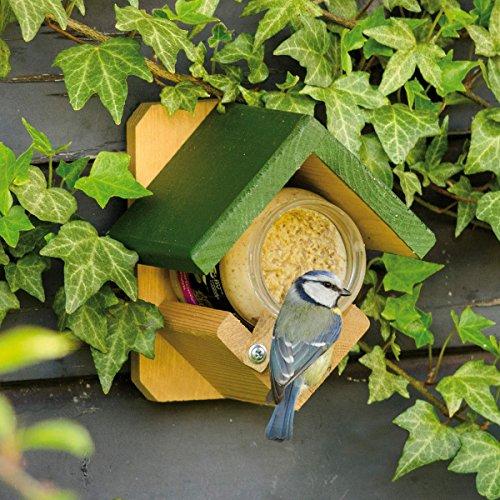 CJ Wildlife Erdnussbutterglashalter \'Dublin\' inklusive 4X Erdnussbuttergläser für Vögel | perfekt für die Ganzjahresfütterung | schmackhafte Auswahl an Erdnussbutter