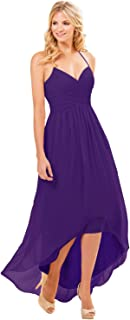 Women's Halter V-Neck Spaghetti Strap High Low Long Bridesmaid Dresss Formal Evening Gown