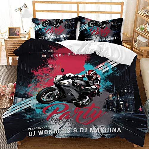 Juego de ropa de cama 3D de Locomotive, de 3 piezas, funda nórdica de 100% poliéster, funda de almohada con cremallera, adecuado para adolescentes y niños (s7, Superking 220 x 260 cm (80 x 80 cm)