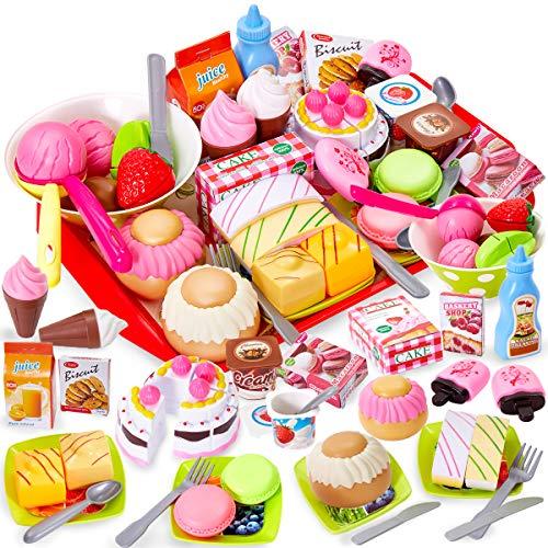 Buyger Comida Cortar Juguete Helados Tarta Cumpleaños Alimentos con Utensilios de Cocina Bandeja Juego Regalo para Niños Niñas