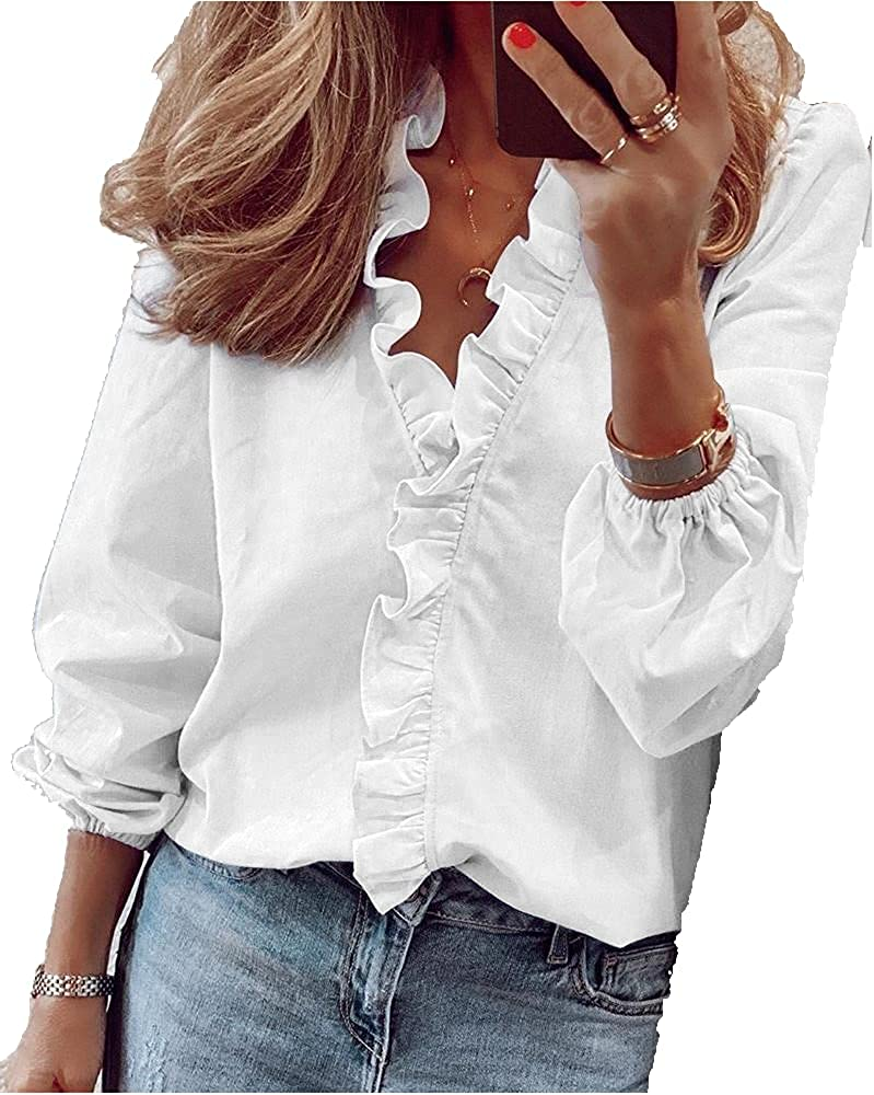 Chvity Women's Long Sleeve Tops Casual Button Down Ruffle V Neck Blouse Fall Loose Solid Tee Tshirts