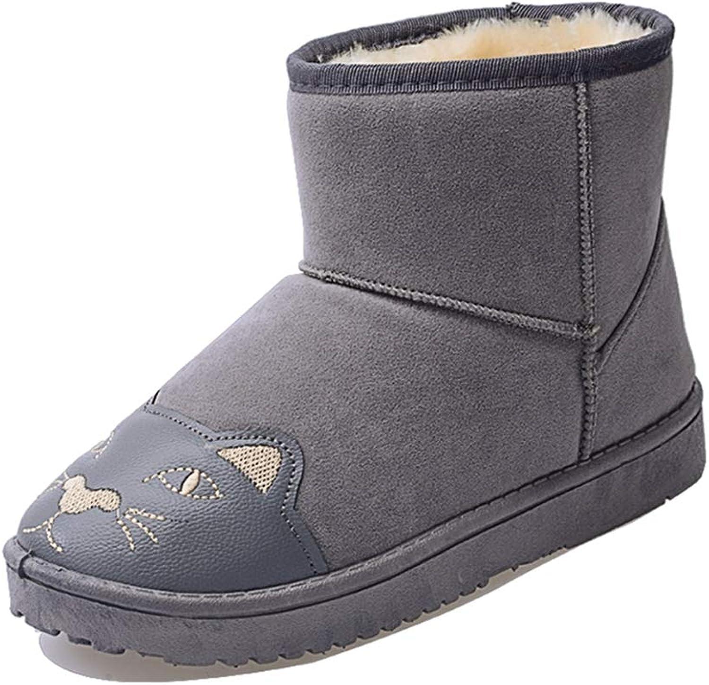 Zarbrina Womens Fleece Lined Winter Warm Ankle Boots Cute Girl's Flat Platform Rubber Sole Short Plush Slip On shoes