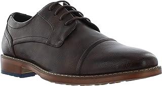 جورجيو بروتيني أيدين حذاء أكسفورد بني وأسود للرجال، حذاء جلدي بتصميم قبعة اصبع القدم