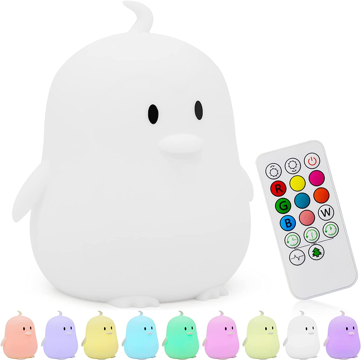 Kids Night Light, Kawaii Room Decor, Cute Penguin Nursery Light for Baby,Toddler, Silicone LED Lamp, Portable Toys Lamp with Remote, Timer Auto Shutoff, Baby Bedroom Girls Boys Birthday Gifts