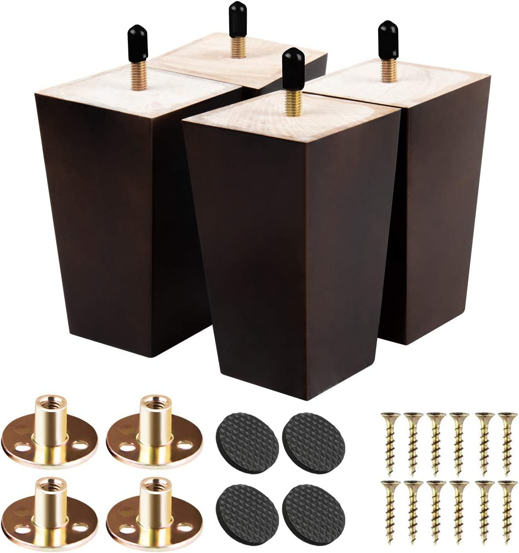 3 inch Solid Wood Furniture Legs Btowin 4Pcs Mid-Century Modern Wooden Pyramid Replacement Feet with Threaded 5//16 Hanger Bolts /& Mounting Plate /& Screws for Sofa Couch Chair Recliner