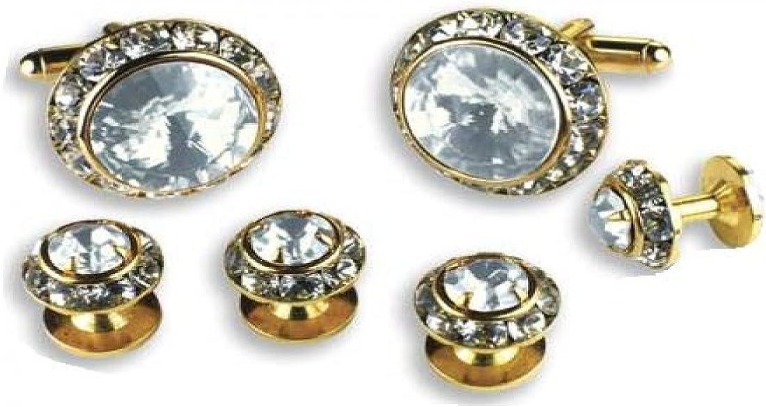 Crystal Clear Stone Center Austrian Crystal Tuxedo Studs and Cufflinks Gold Trim