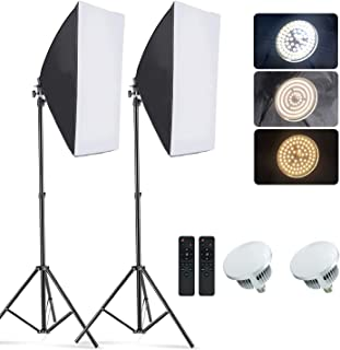 مجموعة إضاءة في صندوق التصوير الفوتوغرافي صورة ضوء ضوء Softbox 49.7 × 69.5 سم إضاءة مستمرة مع حامل 80 بوصة بمأخذ E27 لالتق...