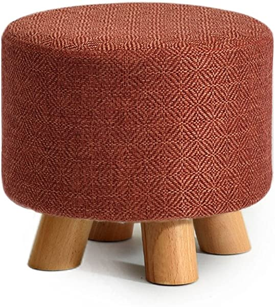 Fashion Solid Wood Shoes Stool Round Upholstered Footstool Sofa Stool Footrest Small Seat Foot Rest Chair Color 1