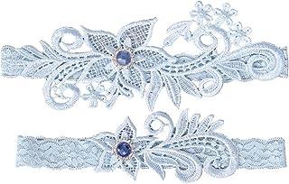 BESTOYARD Encaje de Novia de Encaje Ligas con Perlas de Diamantes de imitación de Cristal para Mujer Dama Femenina (Azul C...