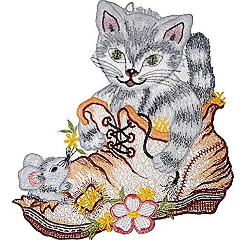 Fensterbild Plauener Spitze Katze im Schuh Maus Grau Farbig Fensterdeko Sommer 21x22