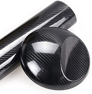VINYL FROG 5Dリアルカーボンシート カーラッピングフィルム ハイグロス(艶あり) 3Dベース ブラック(黒) エア抜き溝 152cm×30cm