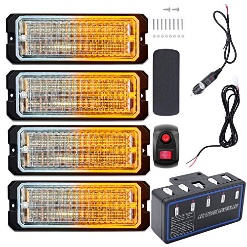 Led Warning Lights, 4pcs Emergency Warning Caution Hazard Construction Ultra Slim Sync Feature Car Truck with Main Control Box Surface Mount(White Amber, Switch Control)