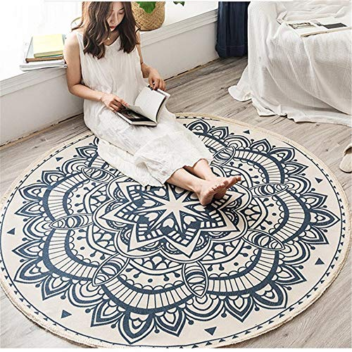 Sarah Duke Mandala - Alfombra redonda con borlas, estilo bohemio, alfombra de algodón redonda, lavable, para interior y exterior, para salón, dormitorio, (4,92 x 92 cm)