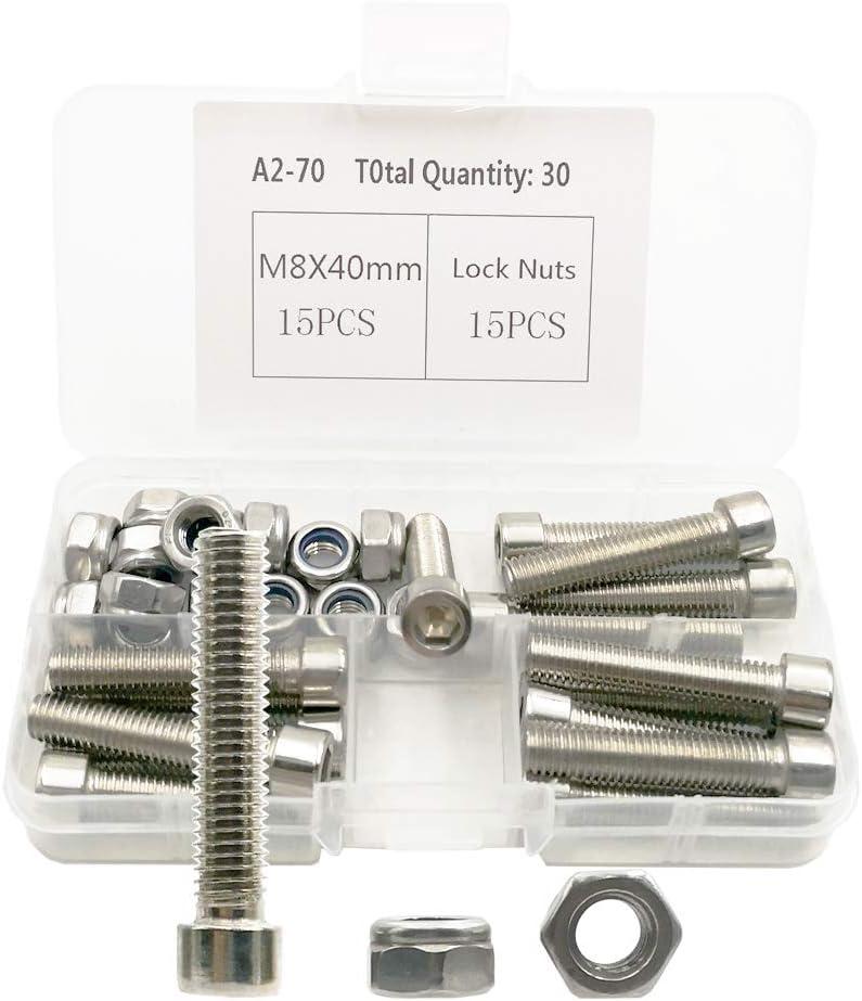 M8 x 20 mm, 20 piezas 20 tuercas y tornillos M8 304 tornillos de cabeza hueca hexagonal de acero inoxidable tornillos de cabeza hexagonal y combinaci/ón de tuercas antideslizantes