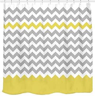 Sunlit Zigzag Yellow and Gray White Chevron Shower Curtain. Geometric Print Pattern Lines and Contemporary Stripes Modern Design Prined Fabric Bathroom Decor. Light Grey Lemon Color Block Hem