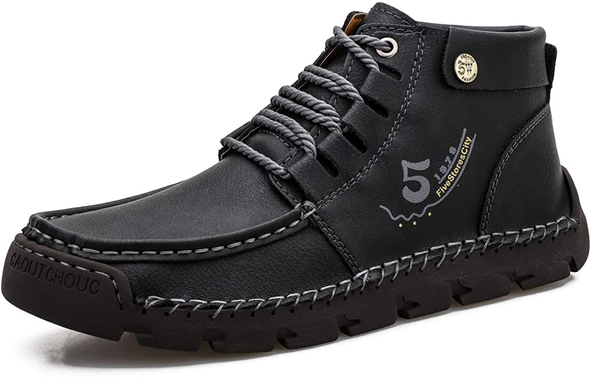 Dacomfy Work Boots for Men Chukka Boots Casual Shoes Hand Stitching Lace-up Vintage Comfortable Non-slip Breathable Leather Oxford Wide Ankle Boots